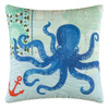 Coastal Ocean Blue Octopus on White 18 Inch Throw Accent Pillow