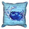 Blue Crab with Script Accent Throw Pillow Indoor Outdoor 18 X 18 Inches