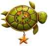 Allen Designs Coastal Shelldon Sea Turtle Turtle Pendulum Battery Wall Clock