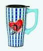 Dad Blue Plaid Ceramic Travel Mug  with Lid 16 Ounce Coffee Tea Latte