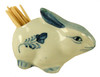 Bunny Rabbit Porcelain Toothpick Holder Porcelain Blue and White