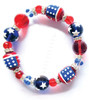 All American Red White Blue Rhinestone Glass Bead Kate and Macy Stretch Bracelet