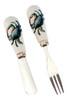 Coastal Blue Crab Ceramic Spreader and Cocktail Fork Set of 2