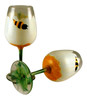 Hand Painted White Daisy Bumble Bee Wine Glass Set of 2