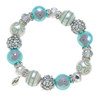 Blue Dazzle Rhinestone Glass Beaded Kate and Macy Stretch Bracelet