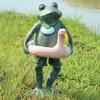 Beach Buddy Frog and Flamingo Float Tube Garden Decor