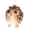 Adorable Little Brown Owl with Rhinestones Christmas Holiday Ornament Glass