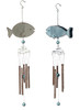 Blue and Silver Fish Wind Chimes Set of 2 Rustic Metal