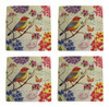 Birds and Bees Floral Beauty Melamine 11 Inch Plates Set of 4