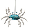 Blue Crab Jeweled Christmas Holiday Ornament Metal