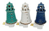 Coastal Lighthouses Night Lights Ceramic Teal White and Navy Set of 3