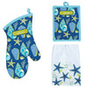 Blue and Green Saltwater Shells Kitchen Oven Mitt Potholder Dish Towel Set of 3