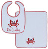 Im Crabby Red Crab Embroidered Baby Bib and Burp Cloth 2 Piece Set