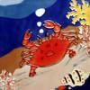 Red Crab in Ocean Ceramic Tile 4 Inches