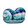 Seashells in Tray Salt and Pepper Shaker Set Blue Teal and White Ceramic