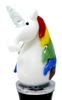 White Unicorn Bottle Topper Glass and Metal