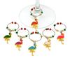 Flamingos Enameled Wine Charms Set of 6 Metal and Glass