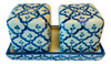 Square Salt and Pepper Shakers on Tray Porcelain Blue and White