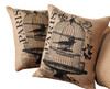 Mud Pie Bird Cage Fleur De Lis Pillows Burlap 12 Inch Set of 2 Paris Postcard
