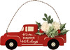 Red Pickup Truck Home for the Holidays Christmas Ornament Wood