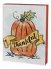 Glittered Pumpkin Thankful Fall Block Tabletop Sign Wood 8 Inches