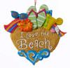 Kurt Adler I Love the Beach Heart Christmas Holiday Ornament Resin