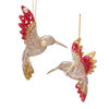 Platinum and Ruby Red Hummingbird Christmas Holiday Ornaments Set of 2