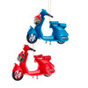 Blue and Red Scooters with Wreaths Christmas Holiday Ornaments Set of 2