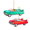 Green and Red Retro 60s Inspired Cars Christmas Holiday Ornaments Set of 2