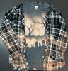 Spooky Halloween Graveyard Bleached Distressed Design Unisex Tee Shirt Gray