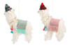 Wooly Llamas with Hats Christmas Holiday Ornaments Set of 2 Wool 7.5 Inches