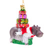 Noble Gems Hippo with Stack of Gifts Christmas Holiday Ornaments 4.5 Inches