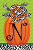 Beautiful Autumn Zebra Pumpkin Monogram N Double Sided Garden Flag