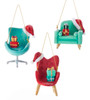 Kurt Adler Mid Century Style Chairs With Santa Hats Holiday Ornaments Set of 3