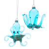 Kurt Adler Blue Octopus with Sand Holiday Ornaments Set of 2 Glass