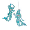 Teal Blue Mermaids with Glitter and Beads Christmas Holiday Ornaments Set of 2