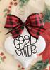 Good Cheer Buffalo Plaid Christmas Holiday Ornament Porcelain