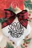 Seasons Greetings Buffalo Plaid Christmas Holiday Ornament Porcelain