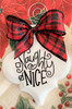 Naughty or Nice Christmas Holiday Buffalo Plaid Holiday Ornament Porcelain
