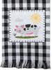 Farm Charm Pig Black and White Plaid Appliqued Kitchen Tea Towel