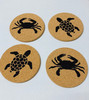 Crabs and Sea Turtles Cork Drink Coasters Set of 4