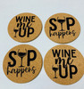 Sip Happens and Wine Me Up Cork Drink Coasters Set of 4