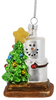 Smores Hugging A Christmas Tree Holiday Ornament Glass