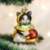 Holiday Kitten Playing with Garland and Tree Decorations Ornment