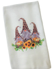 Leopard Gnomes and Sunflowers Microfiber Waffle Weave Kitchen Dish Towel