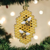 Honeybees on Honeycomb Christmas Holiday Ornament Glass