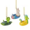 Seahorse Llama and Sea Turtle Pool Floaties Christmas Holiday Ornaments Set of 3