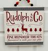 Rudolph and Co Fine Reindeer Treats Holiday Wood Decor Door Hanger 11.75 Inches