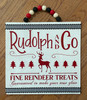 Rudolph and Co Fine Reindeer Treats Holiday Wood Decor Door Hanger 11.75 Inches