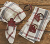 Red Barn Shaped Metal Napkin Rings Set of 4 Kitchen or Dining Room